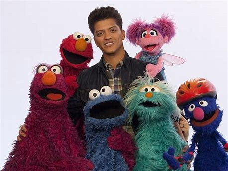 Bruno Mars and Sesame Street Characters