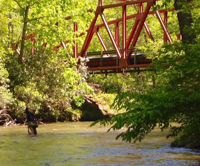Ken Mock fishing at Amicolola Creek Steel Bridge May 2017