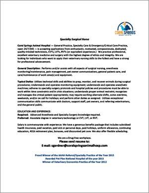 Coral Springs Animal Hospital Specialty Surgical Nurse job ad