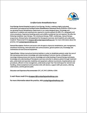Coral Springs Animal Hospital job posting