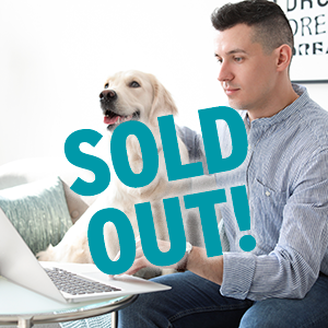 Sold Out text over man and dog