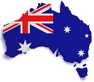 Australia outline with flag
