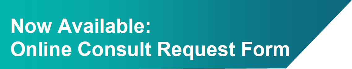 Turquoise bar with the following text on it: Now available - online consult request form