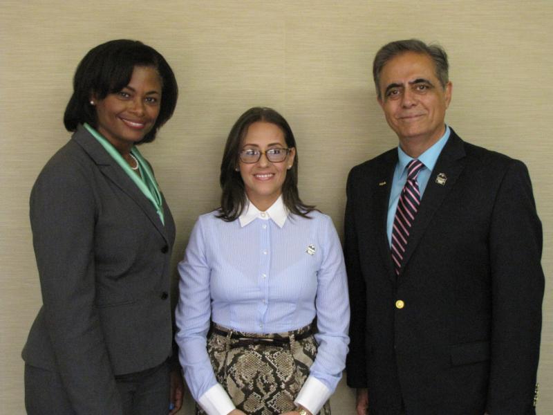 Delgado Chancellor Dr. Joan Davis, Lorraine Olmo, and Professor P. Victor Mirzai.