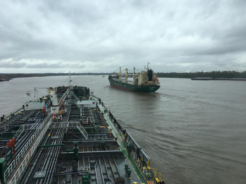 Tanker ships on the lower Mississippi River.