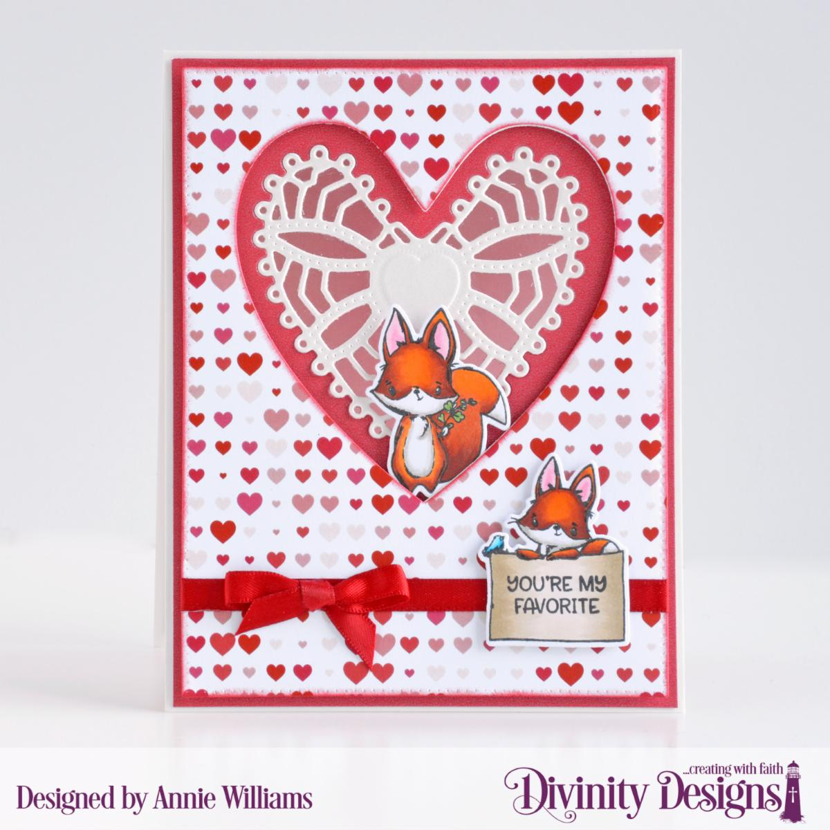 Stamp/Die Duos: Hello Foxy Custom Dies:  Ornate Hearts, Pierced Rectangle Paper Collection: Sweet Hearts