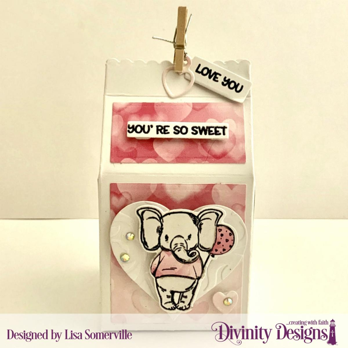 Stamp/Die Duos: So Sweet Custom Dies: Milk Carton, Sentiment Strips, Layering Hearts, Mini Tags Paper Collection: Sweet Hearts Embossing Folder: Flourishes