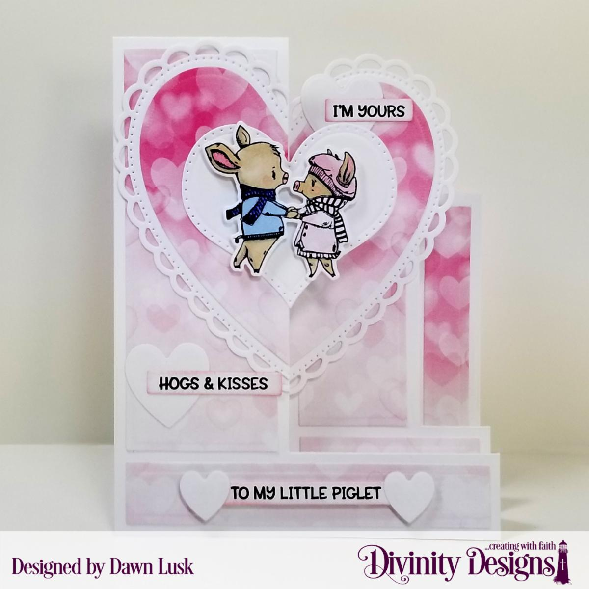 Stamp/Die Duos: Hogs & Kisses Custom Dies: Triple Step with Layers, Ornate Hearts, Pierced Heart, Sentiment Strips Paper Collection: Sweet Hearts, Menswear