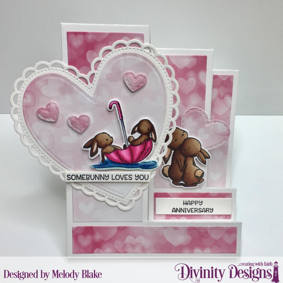 Stamp/Die Duos: Somebunny Custom Dies: Sentiment Strips, Triple Step with Layers, Mini Stitched Hearts, Ornate Hearts Paper Collection: Sweet Hearts