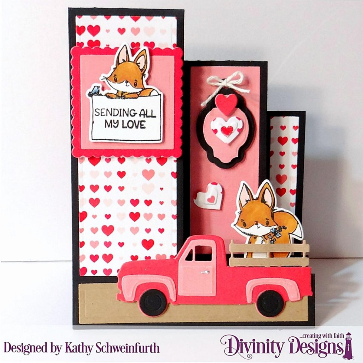 Stamp/Die Duos: Hello Foxy Custom Dies: Triple Step with Layers, Mini Tags, Pickup Truck, Scalloped Squares, Squares, Layering Hearts Paper Collection: Sweet Hearts