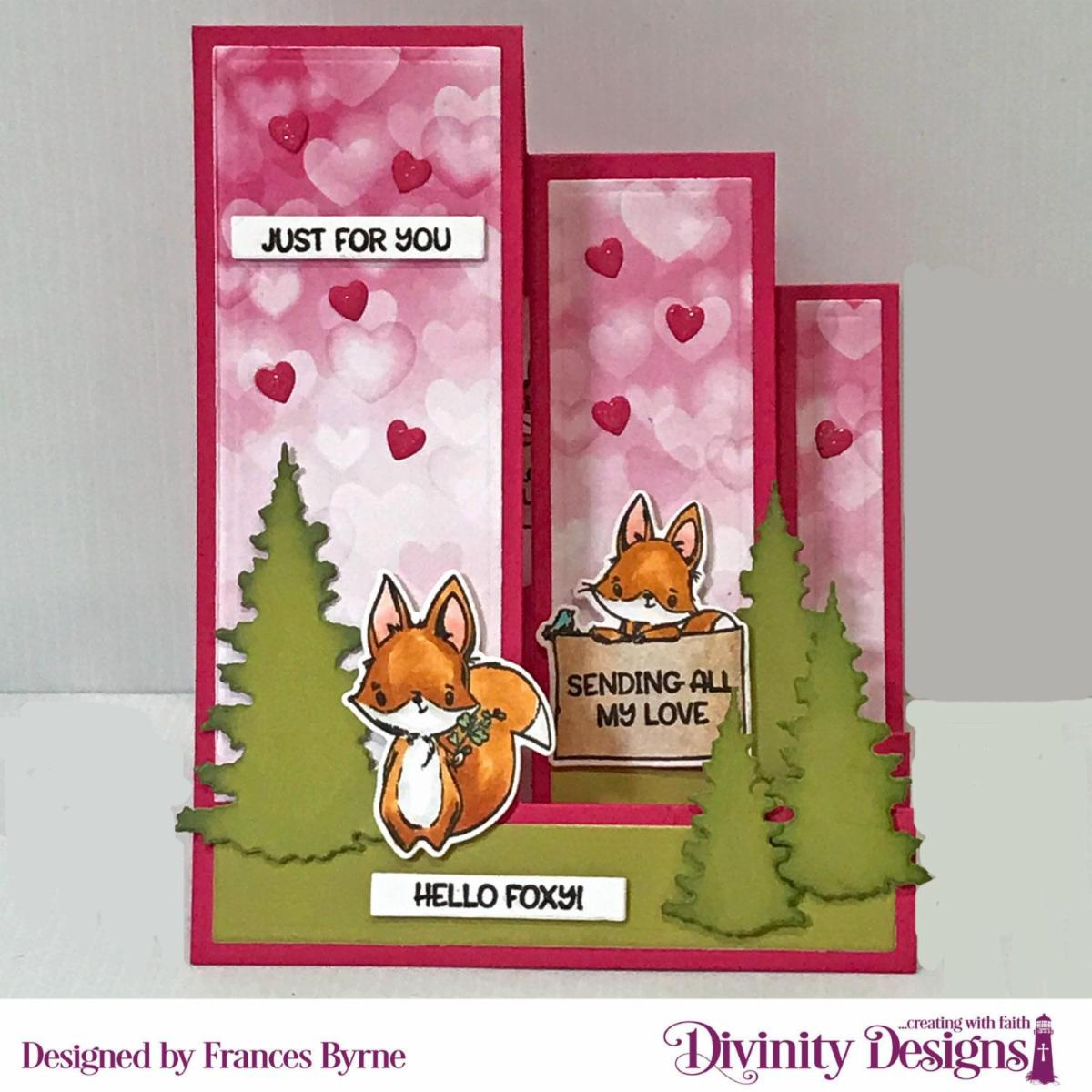 Stamp/Die Duos: Hello Foxy  Custom Dies: Triple Step with Layers, Trees & Deer, Sentiment Strips, USA Map (hearts)  Paper Collections: : Sweet Hearts, Retro Christmas