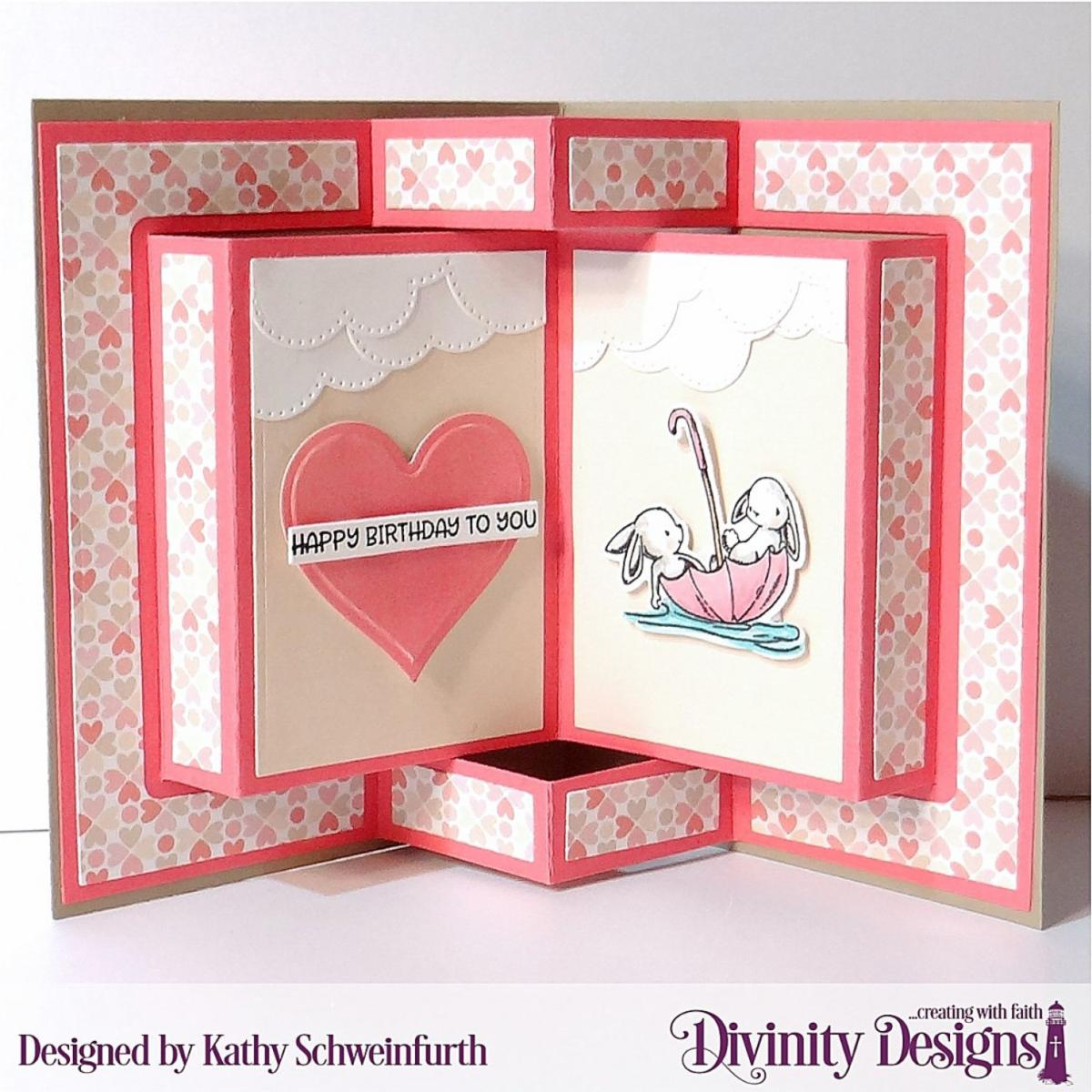 Stamp/Die Duos: Somebunny Custom Dies: Book Fold Card with Layers, Layering Hearts, Sentiment Strips, Scalloped Circles, Circles, Cloud Border Paper Collection: Baby Girl