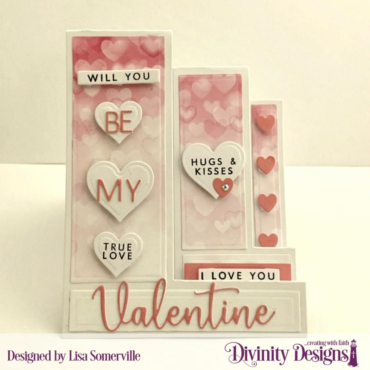 Stamp/Die Duos: Valentine's Day Custom Dies:  Sentiment Strips, Triple Step with Layers, Layering Hearts, Mini Tags Paper Collection: Sweet Hearts
