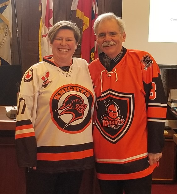 Picture of Mayors wearing hockey jerseys