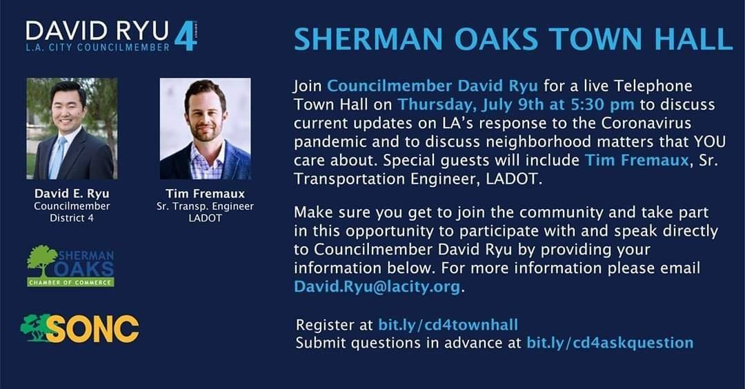 Join Councilmember Ryu on Thursday July 9th at 530pm for a live Telephone Town Hall for the Sherman Oaks area.