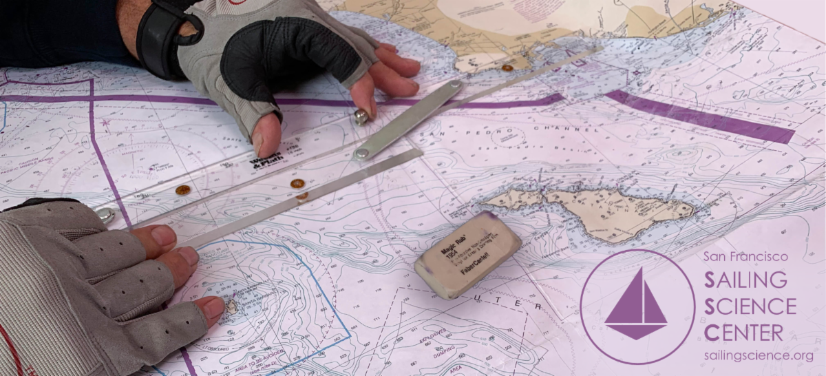 Hands manipulating a parallel ruler on a nautical chart