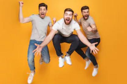 Three men jumping