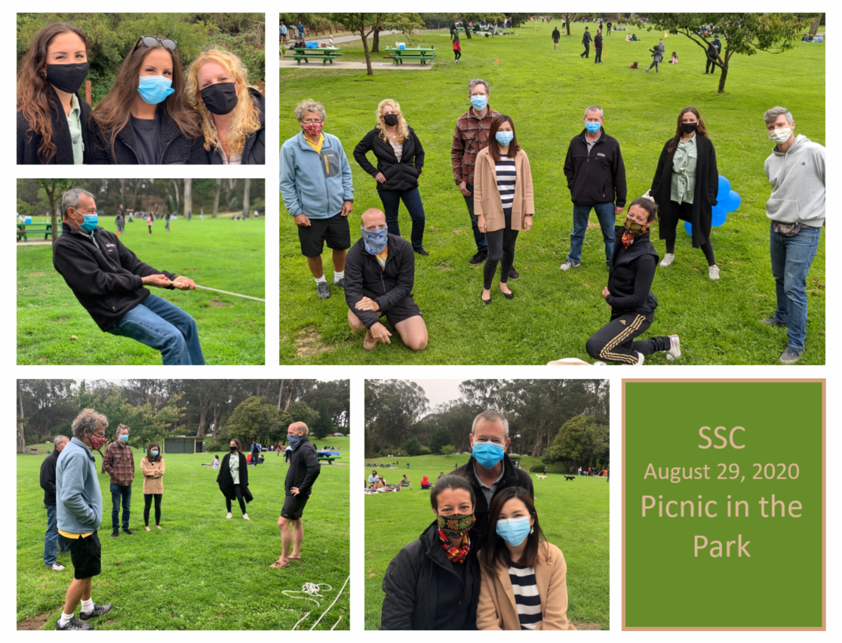 Volunteers enjoying a socially-distanced picnic in Golden Gate Park