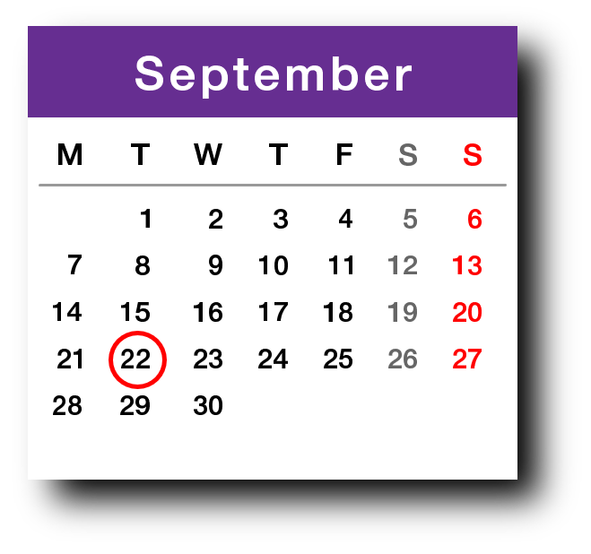 A September calendar page with 22 circled