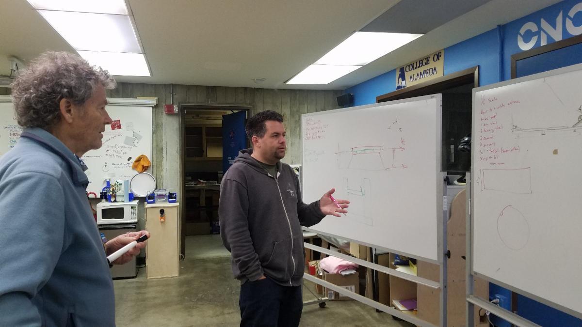 Men talking in front of white boards.