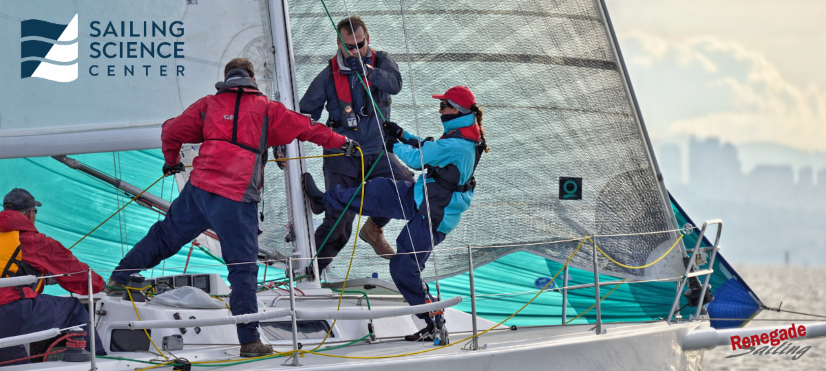 Racing Crew Hoisting a Spinnaker