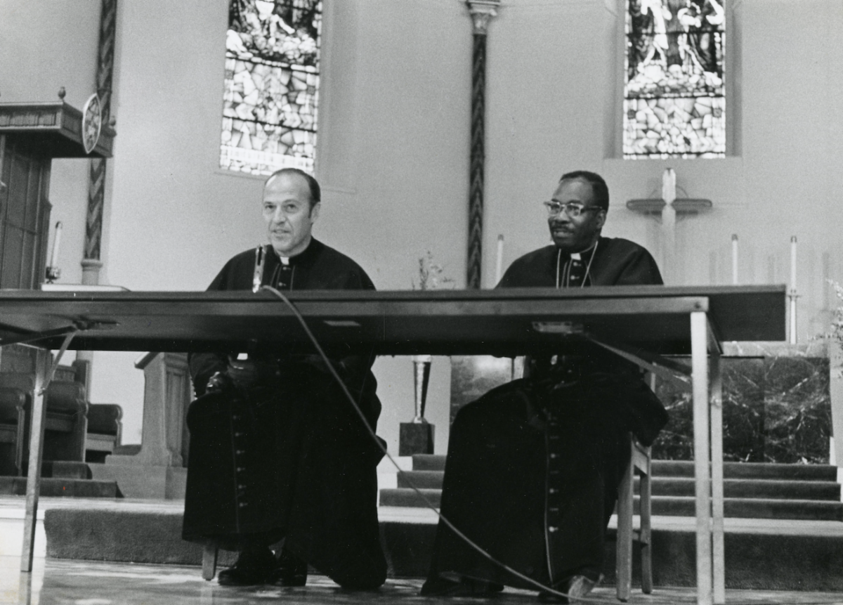 Diocesan Bishop James W. Montgomery and Suffragan Bishop Quintin E. Primo Jr. Panel in St. James Cathedral Chicago