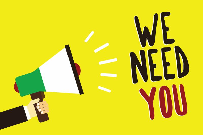 Text sign showing We Need You. Conceptual photo Employee Help Need Workers Recruitment Headhunting Employment Man holding megaphone loudspeaker yellow background message speaking loud.