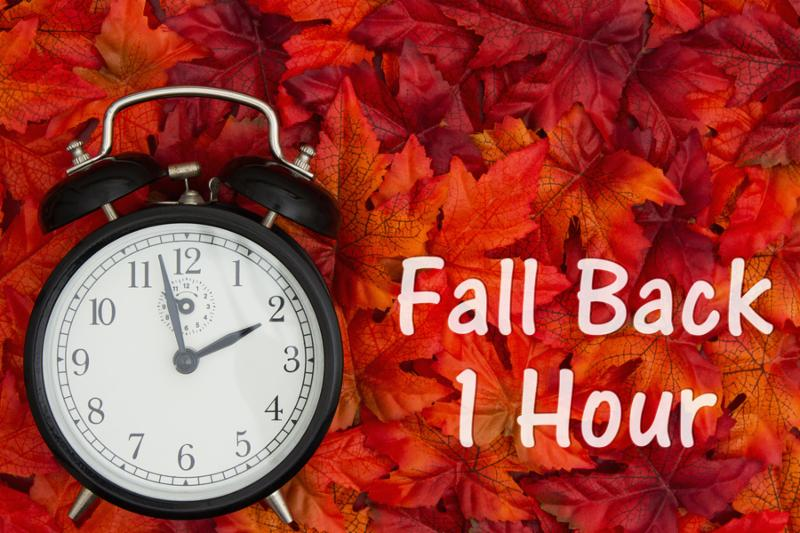 Daylight Savings Time message_ Some fall leaves and retro alarm clock with text Fall Back 1 Hour