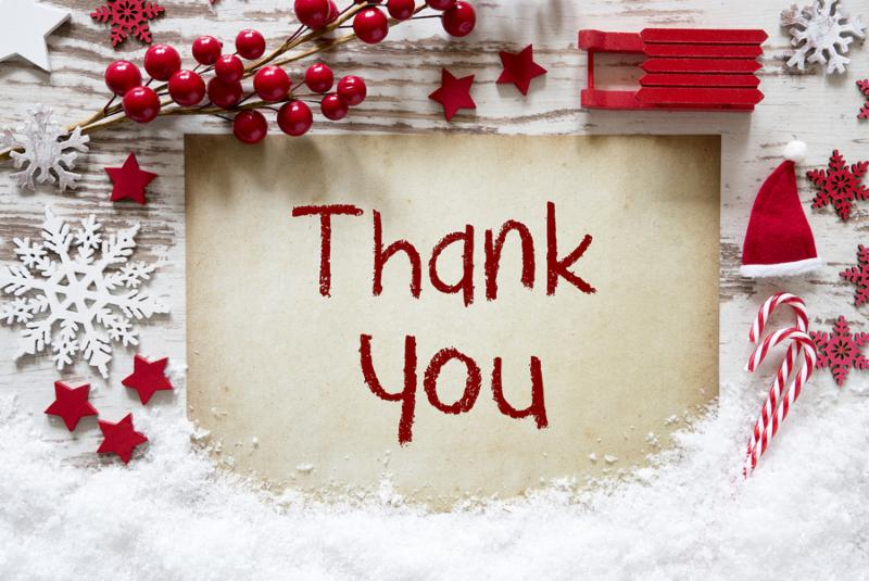 Red Christmas Decoration_ Snow_ English Text Thank You