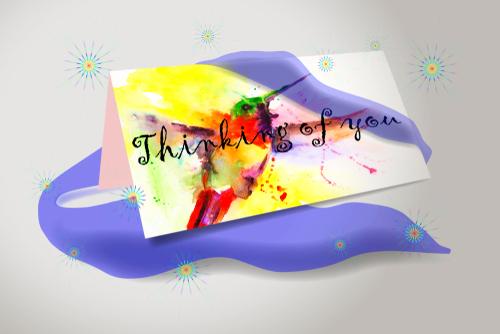 Thinking of you. Humming bird watercolor card illustration
