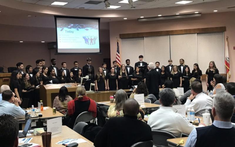 Sheldon High School choir during caroling visit
