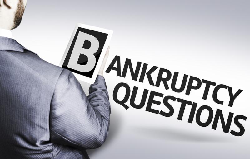 Business man with the text Bankruptcy Questions in a concept image