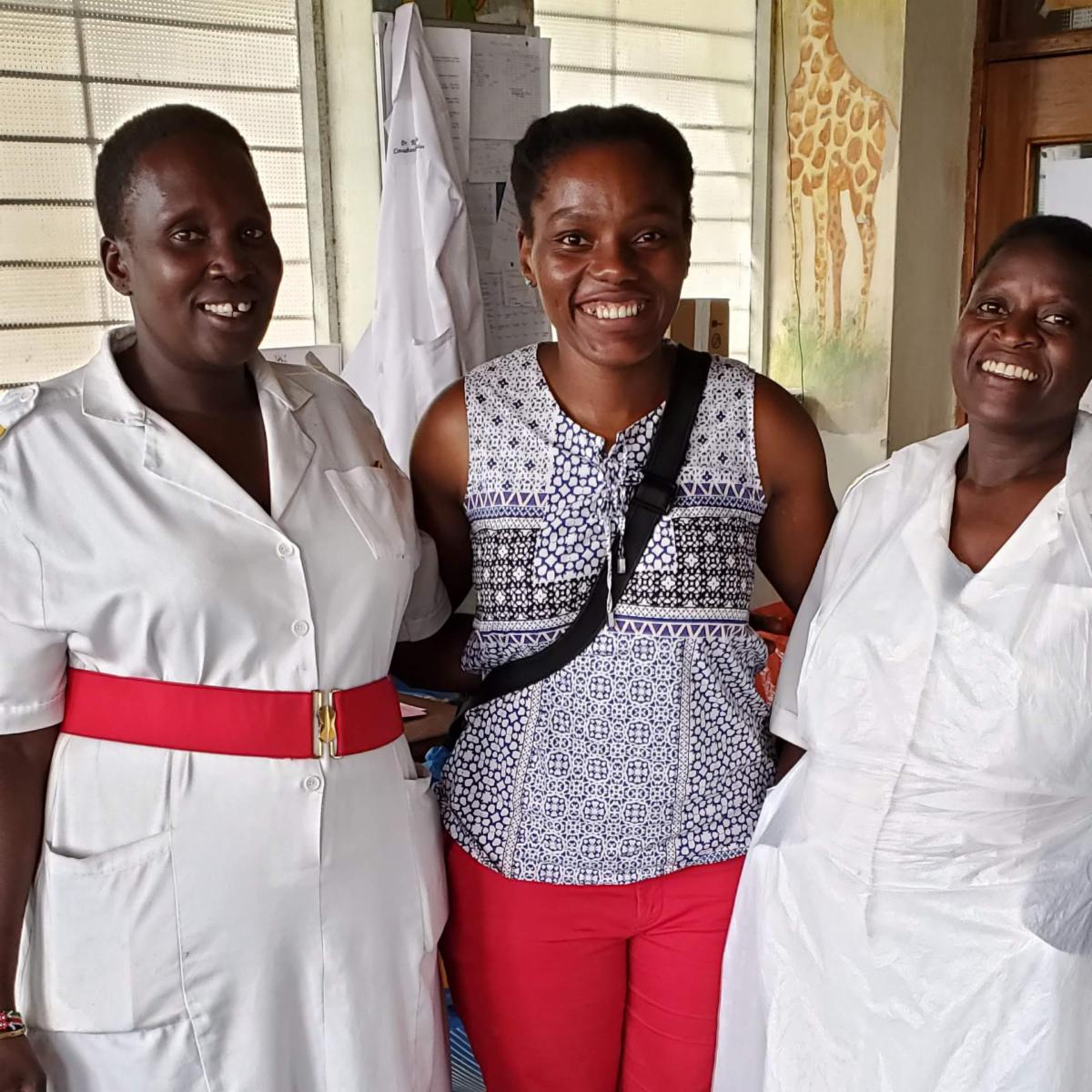Pediatrics nurses with HVO volunteer in Uganda