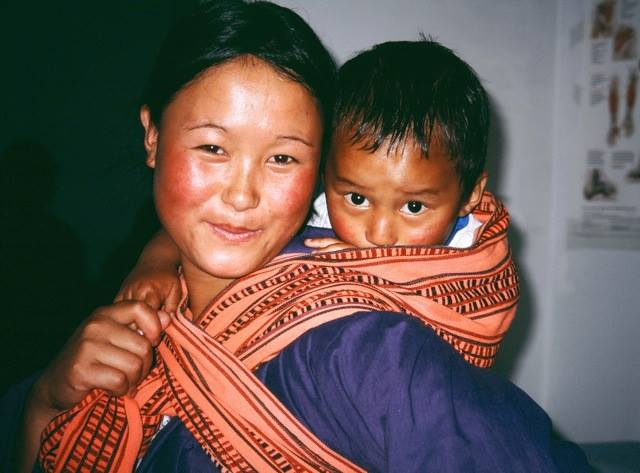 Mom and Baby in Bhutan