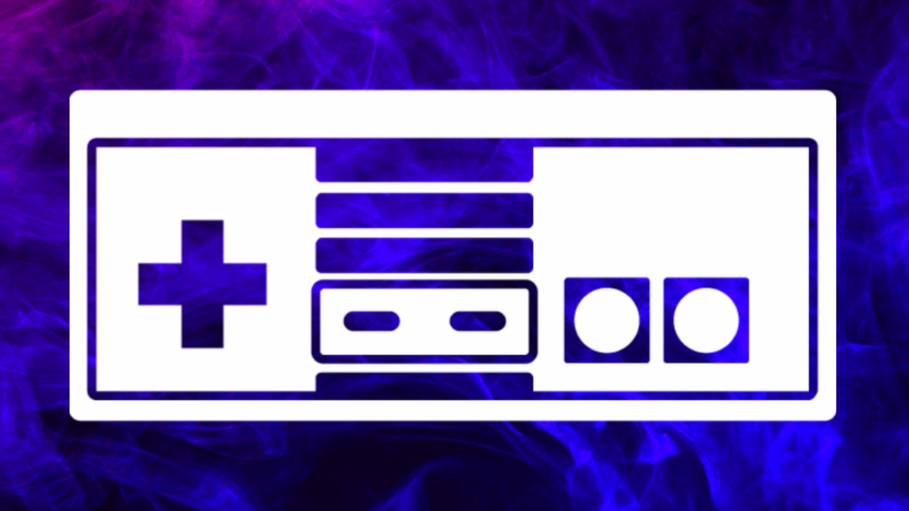 Illustration of a game controller against a purple background