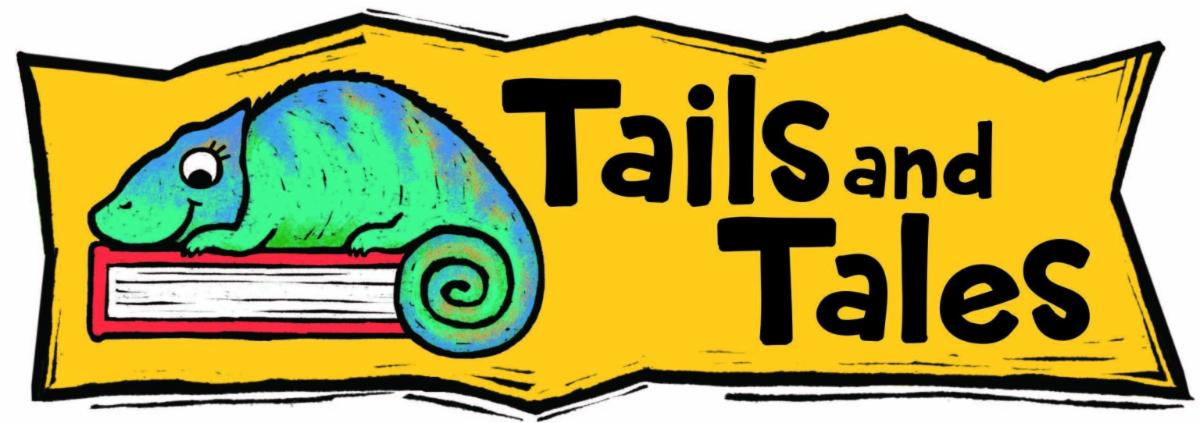 """Illustration of a lizard lying on a book next to the slogan """"Tails and Tales"""""""