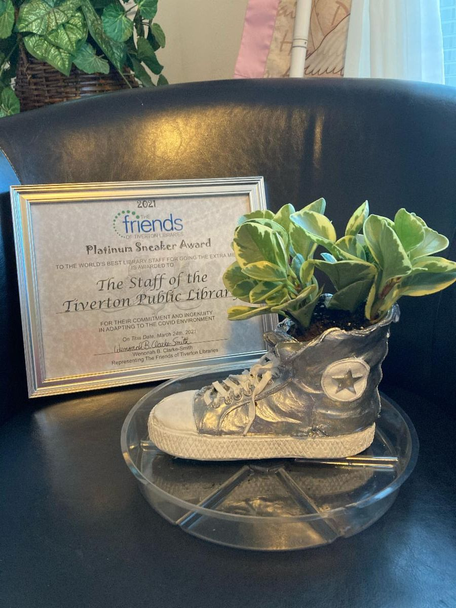 Picture of the Platinum Sneaker Award, with a plant inside, and the award certificate