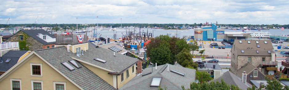 View of New Bedford Harbor from the top floor of the New Bedford Whaling Museum