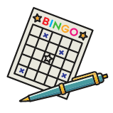 Illustration of a BINGO card and a pen