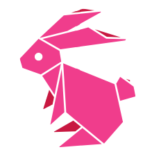 Illustration of a pink origami bunny