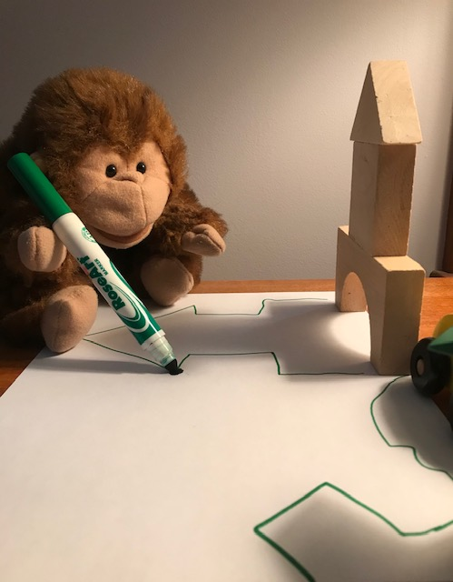 Mr. Monkey Making a Shadow Drawing