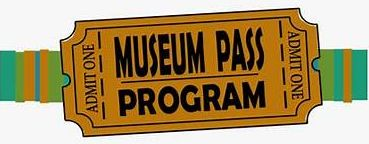 "Illustration of a ticket with the words ""Museum Pass Program, Admit One"" on it."