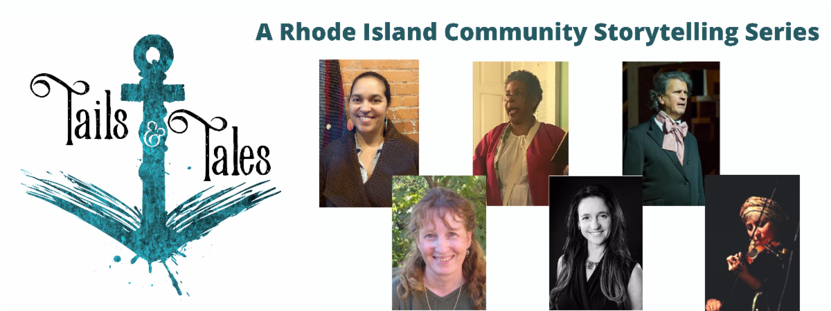 """An illustration of an anchor with the slogan """"Tails & Tales - A Rhode Island Community Storytelling Series, with photos of the storytellers"""