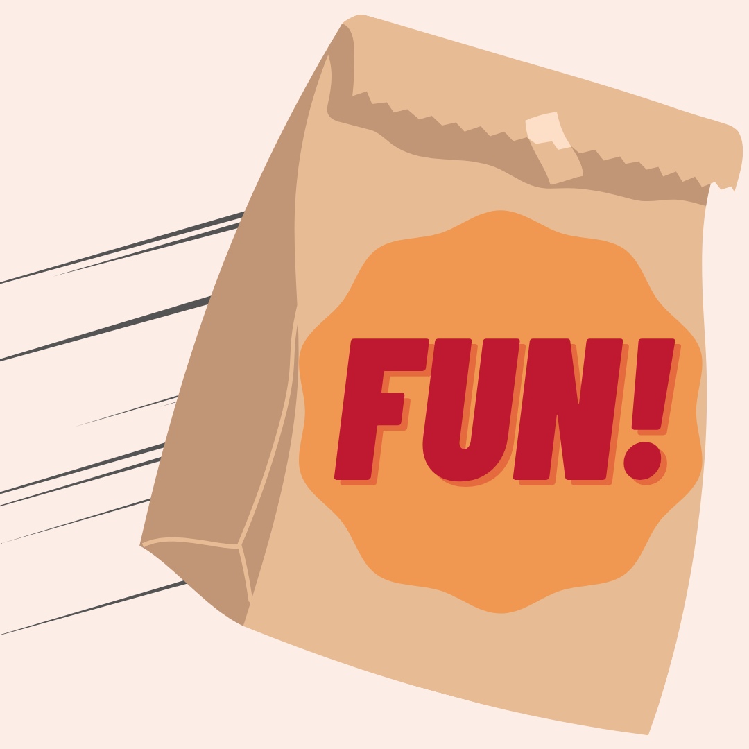 Illustration of a bag with 'Fun' written on the front of it flying through the air