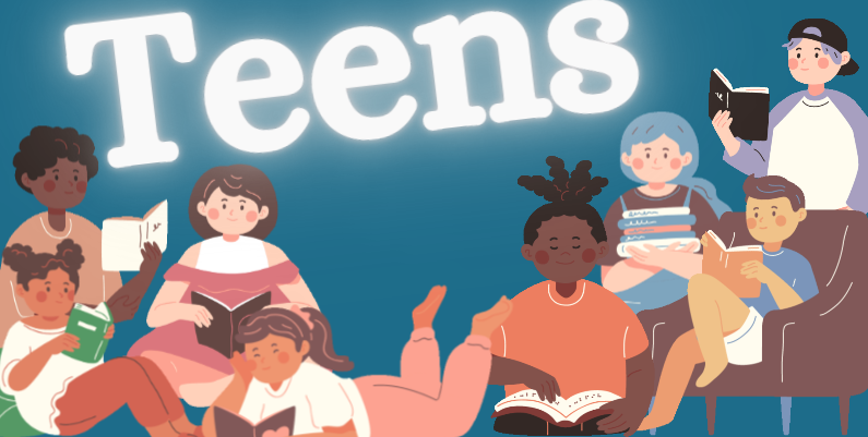 "Illustration of various teenagers reading in chairs, on the floor, while stading. The Word ""Teens"" appears above them."