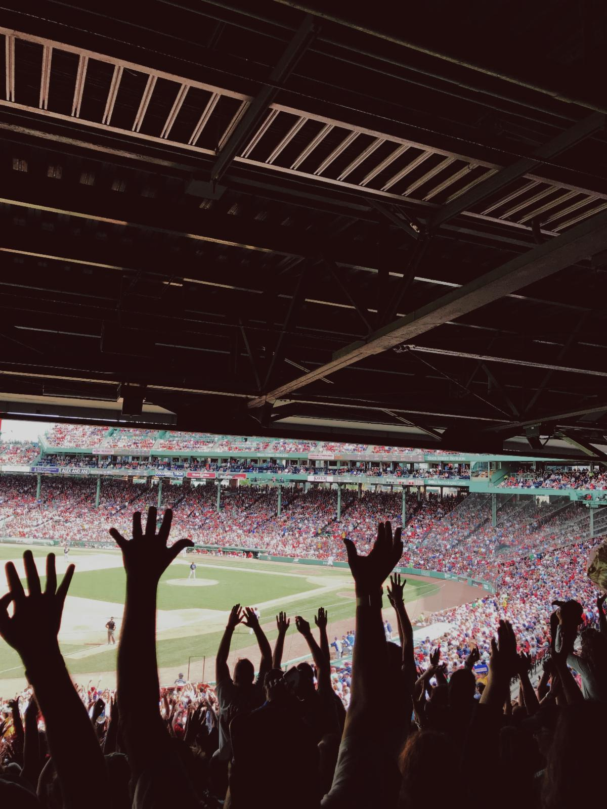 Picture of baseball fans with their arms up, cheering in the stands of a stadium.