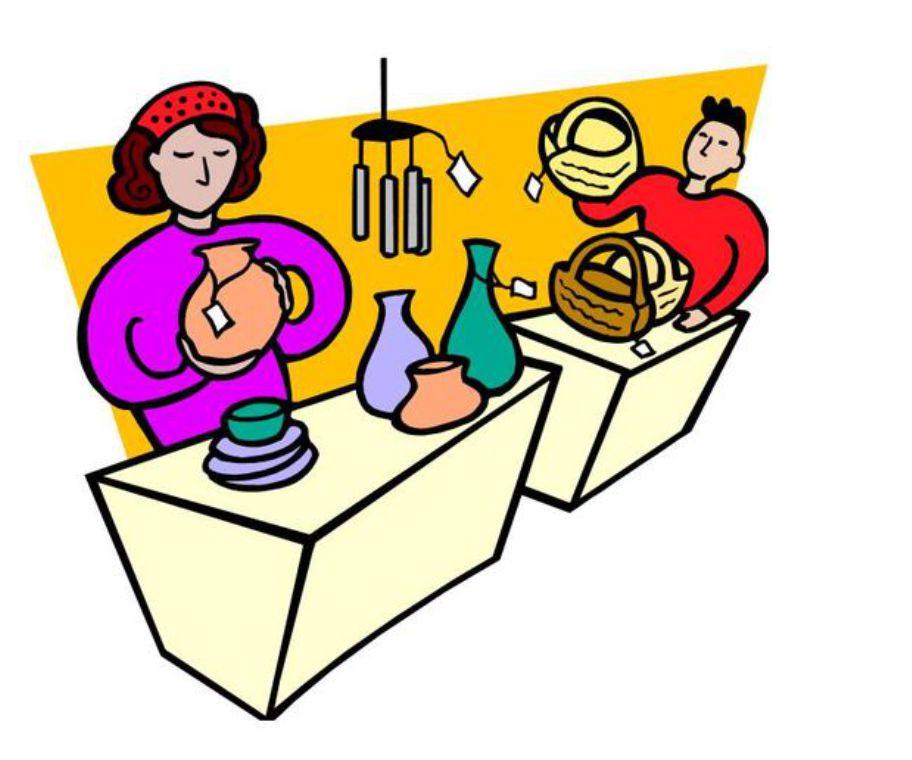 Illustration of vendors at a craft sale