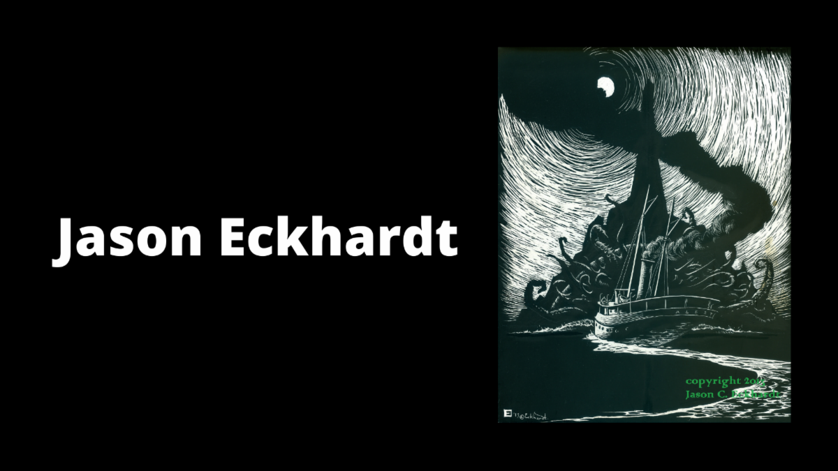 "Slide with the name ""Jason Eckhardt"" and a black and white drawing of a ship in flames being attacked by many-armed a sea monster"