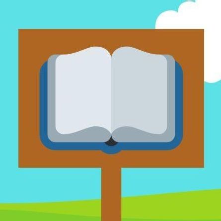 Illustration of a post with a book on it