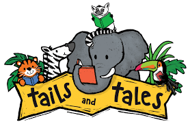 """Jungle animals behind a banner that says """"Tails and Tales"""""""